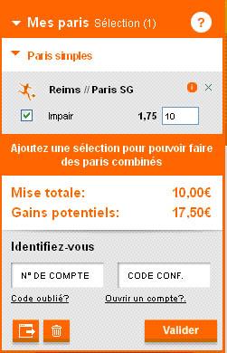 PMU : sélection du pari 'Impair' sur la rencontre de L1 : Reims – Paris PSG