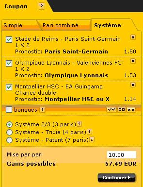 Bwin : Coupon Pari Système 2/3 (3 paris)