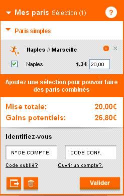 Un exemple de Coupon PMU avec pari sur la victoire de Naples contre Marseille en LDC